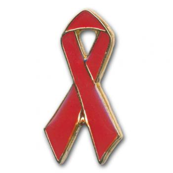 AIDS-Schleife, Red Ribbon Pin mit Goldrand, 25 mm
