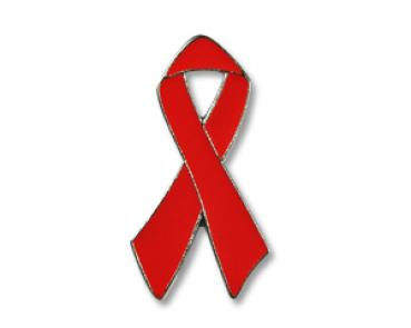 AIDS-Schleife, Red Ribbon Pin mit Silberreand, 25 mm